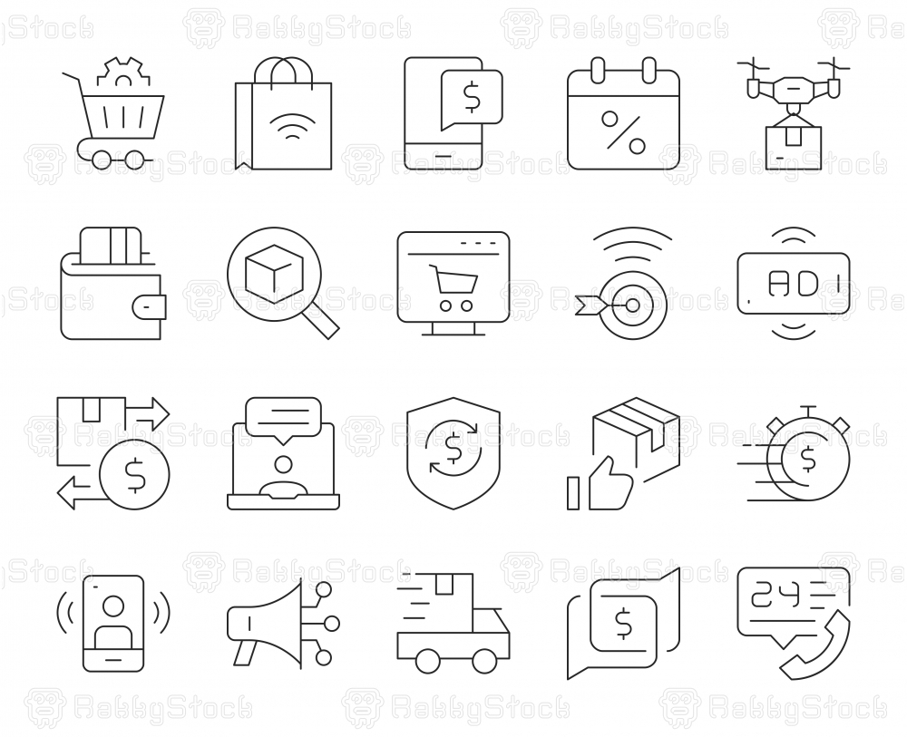 Shopping Online - Thin Line Icons