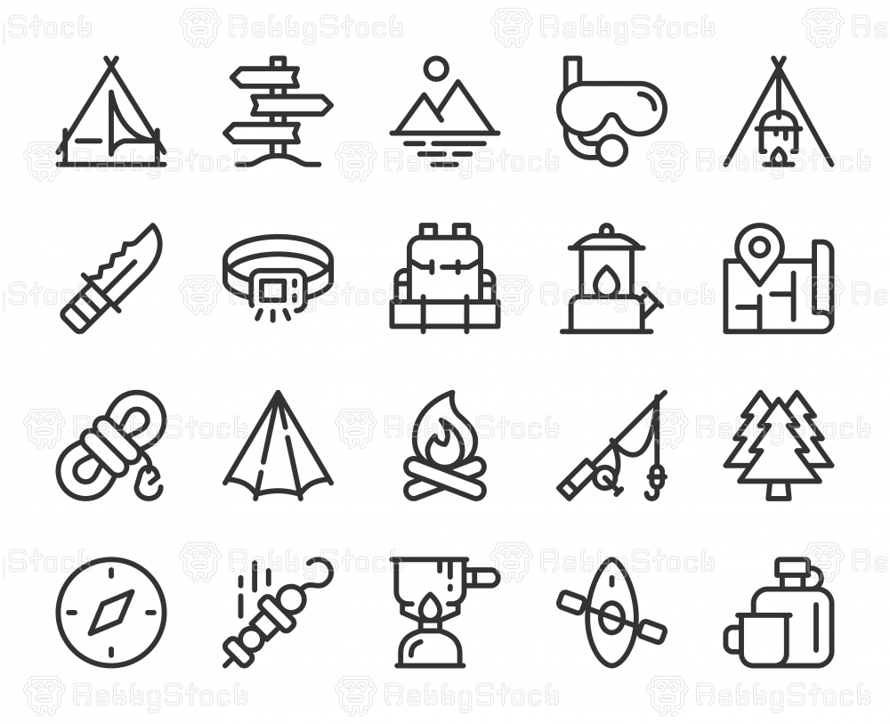Camping and Outdoor - Line Icons