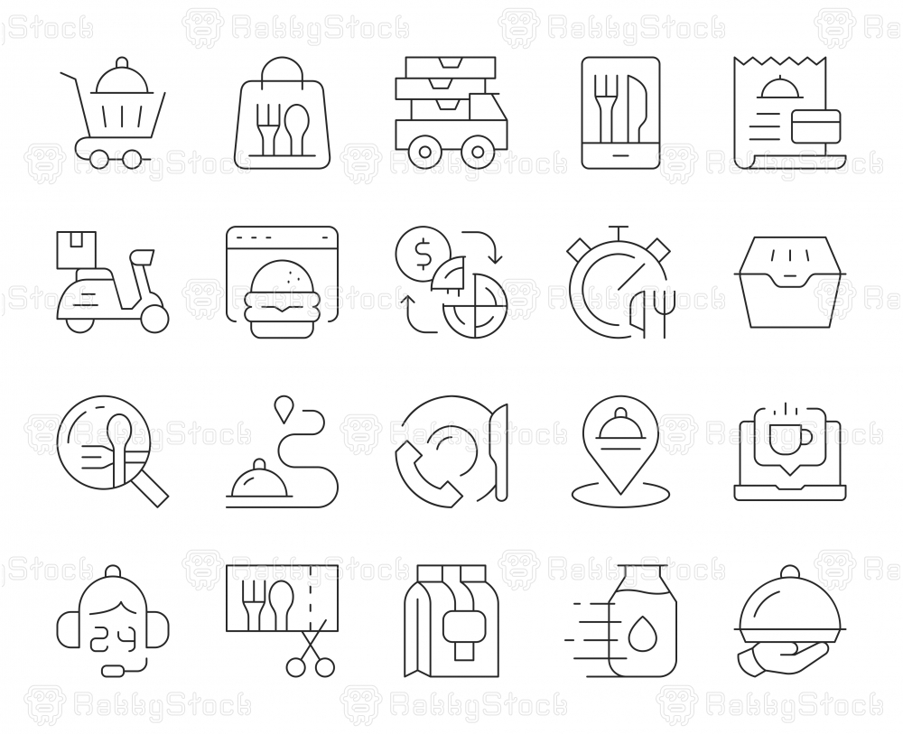 Food Delivery - Thin Line Icons