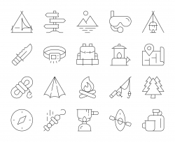 Camping and Outdoor - Thin Line Icons