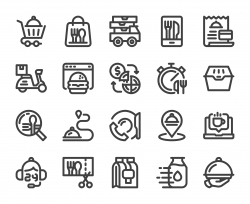 Food Delivery - Bold Line Icons