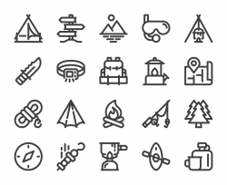 Camping and Outdoor - Bold Line Icons