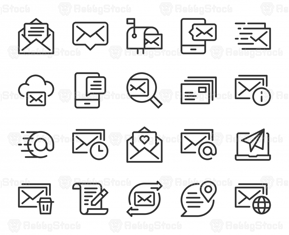 Mail and Messaging - Line Icons