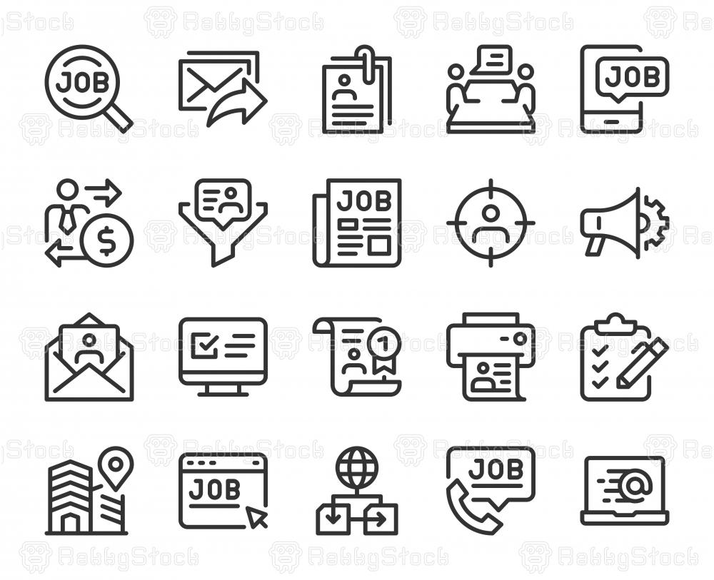 Job Search - Line Icons