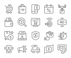 Shopping Online - Light Line Icons