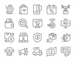 Shopping Online - Light Line Icons