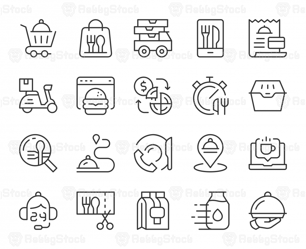 Food Delivery - Light Line Icons