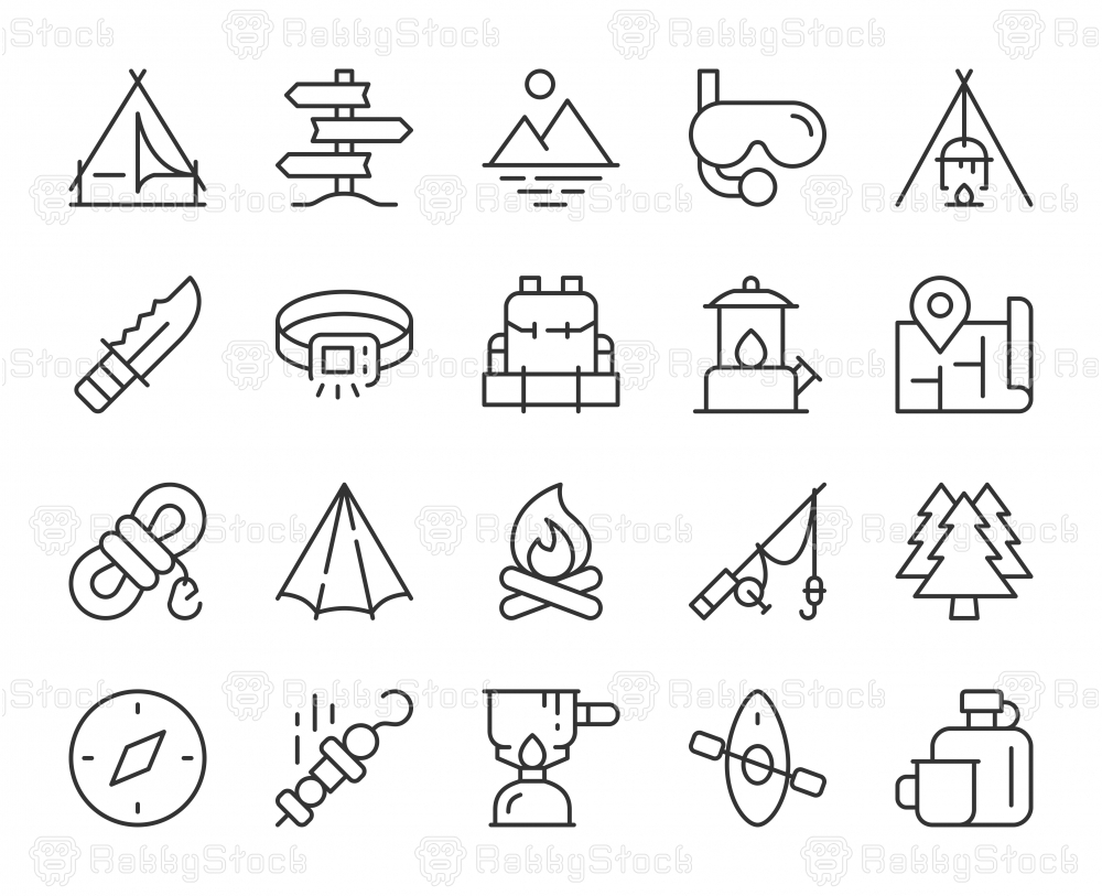 Camping and Outdoor - Light Line Icons