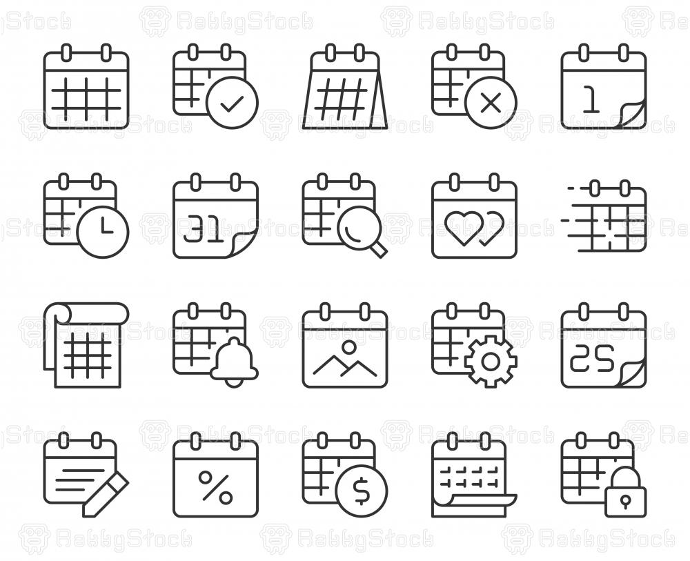 Calendar - Light Line Icons