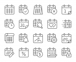 Calendar - Light Line Icons