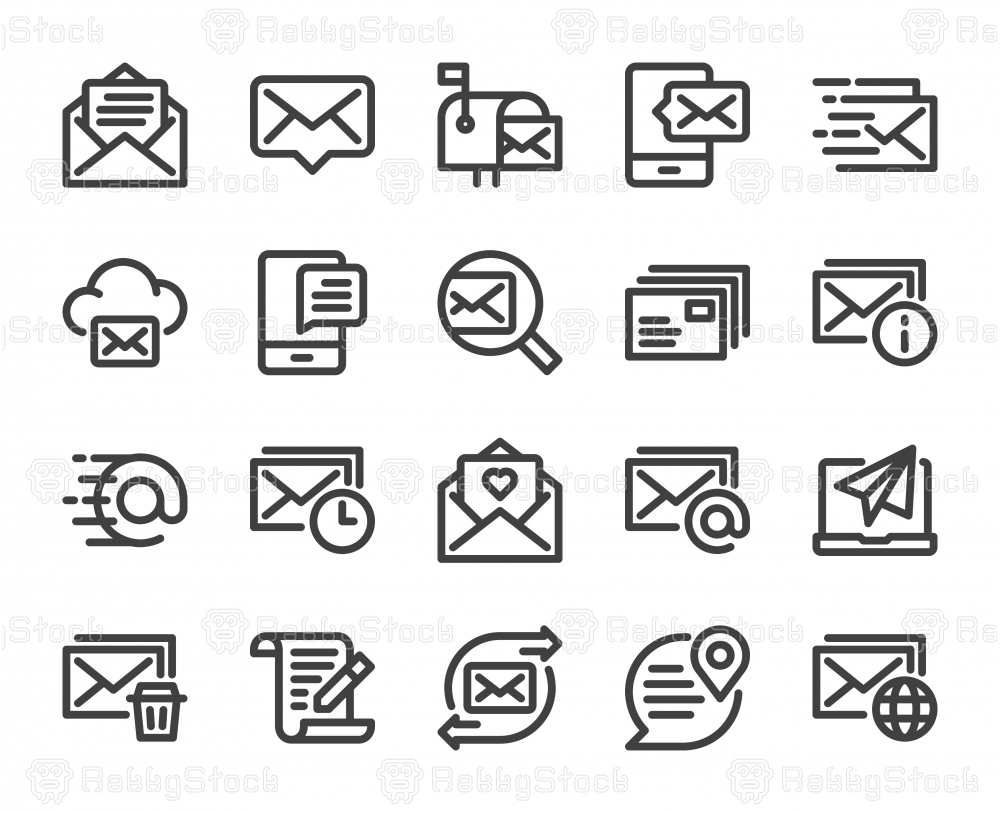 Mail and Messaging - Bold Line Icons