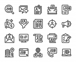 Job Search - Bold Line Icons