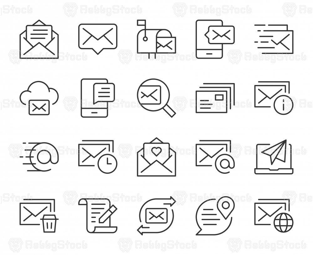 Mail and Messaging - Light Line Icons