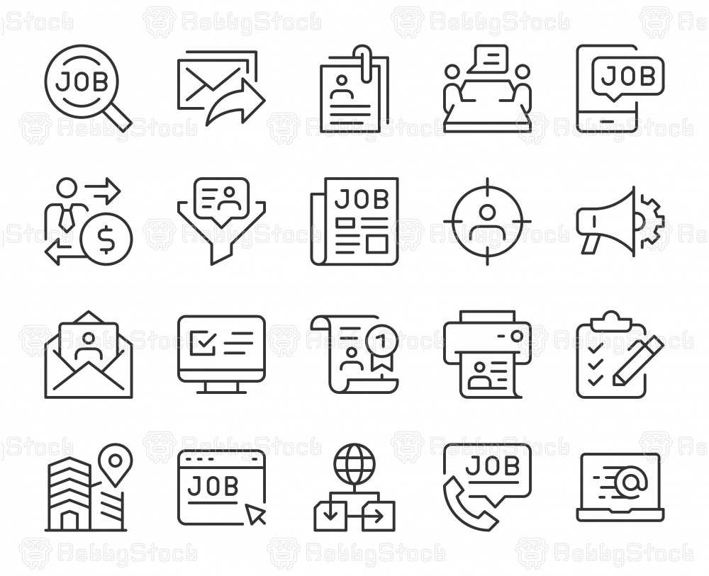 Job Search - Light Line Icons
