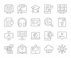 Online Education - Thin Line Icons