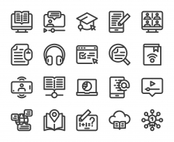 Online Education - Bold Line Icons