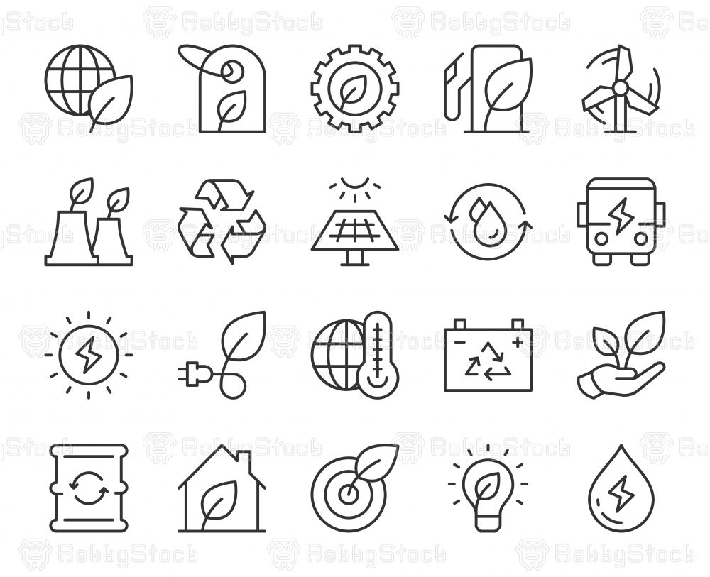 Ecology & Recycling - Light Line Icons