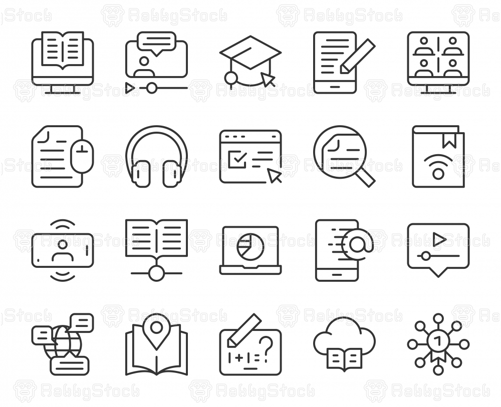 Online Education - Light Line Icons