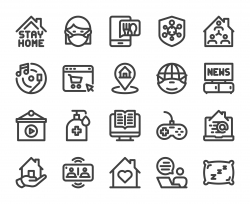 Stay At Home - Bold Line Icons