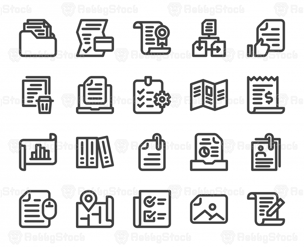 File and Document - Bold Line Icons