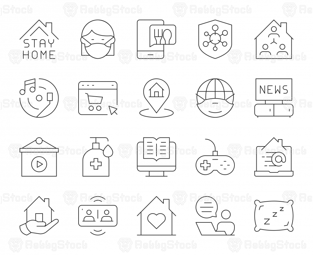 Stay At Home - Thin Line Icons