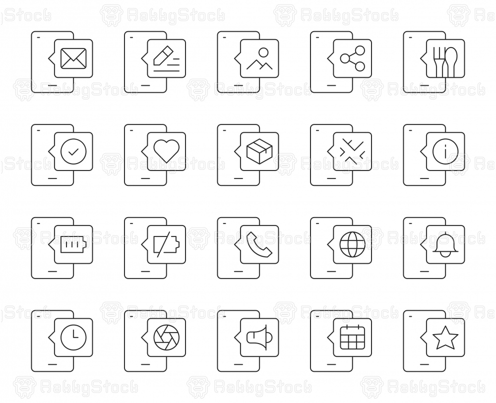 Mobile Phone - Thin Line Icons