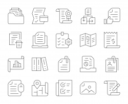 File and Document - Thin Line Icons