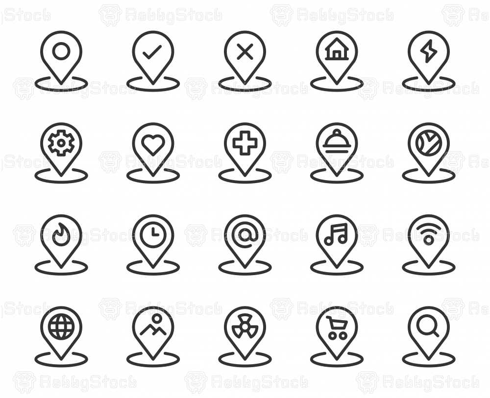 Map Pin Set 1 - Line Icons