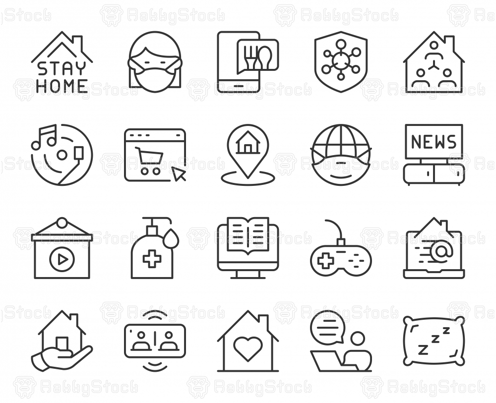 Stay At Home - Light Line Icons
