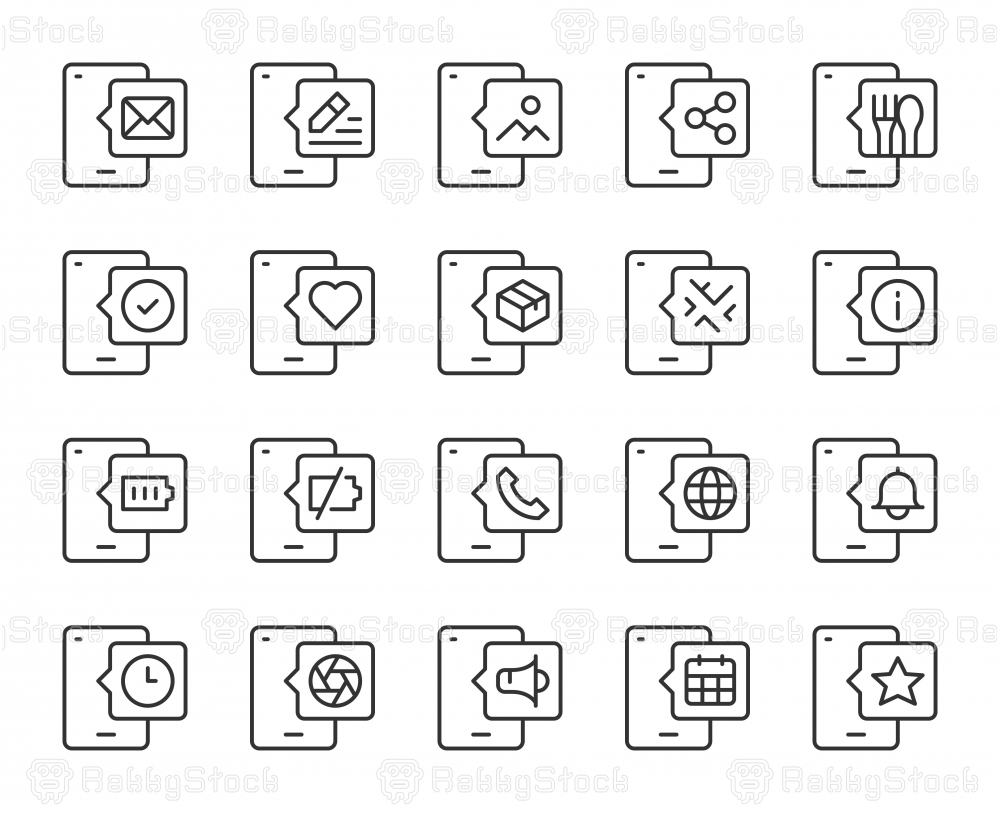 Mobile Phone - Light Line Icons