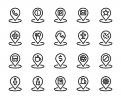 Map Pin Set 2 - Bold Line Icons