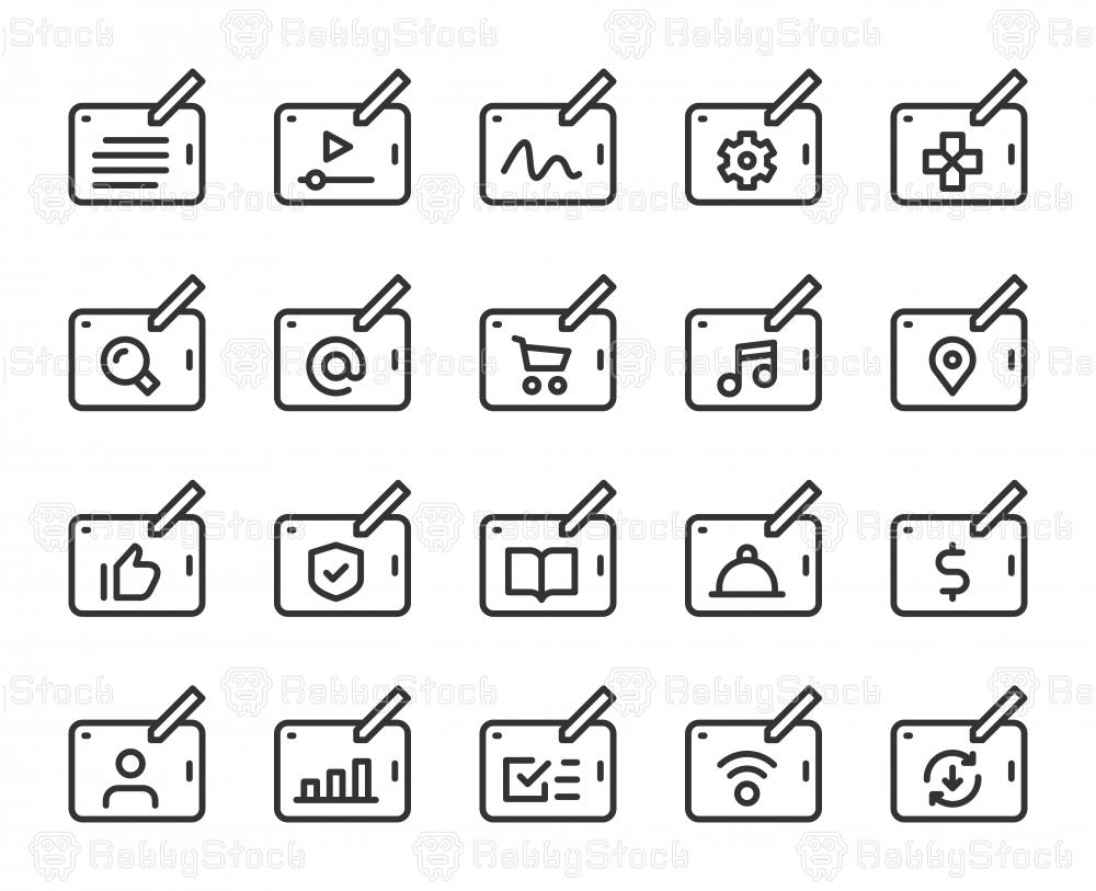 Digital Tablet Set 1 - Line Icons