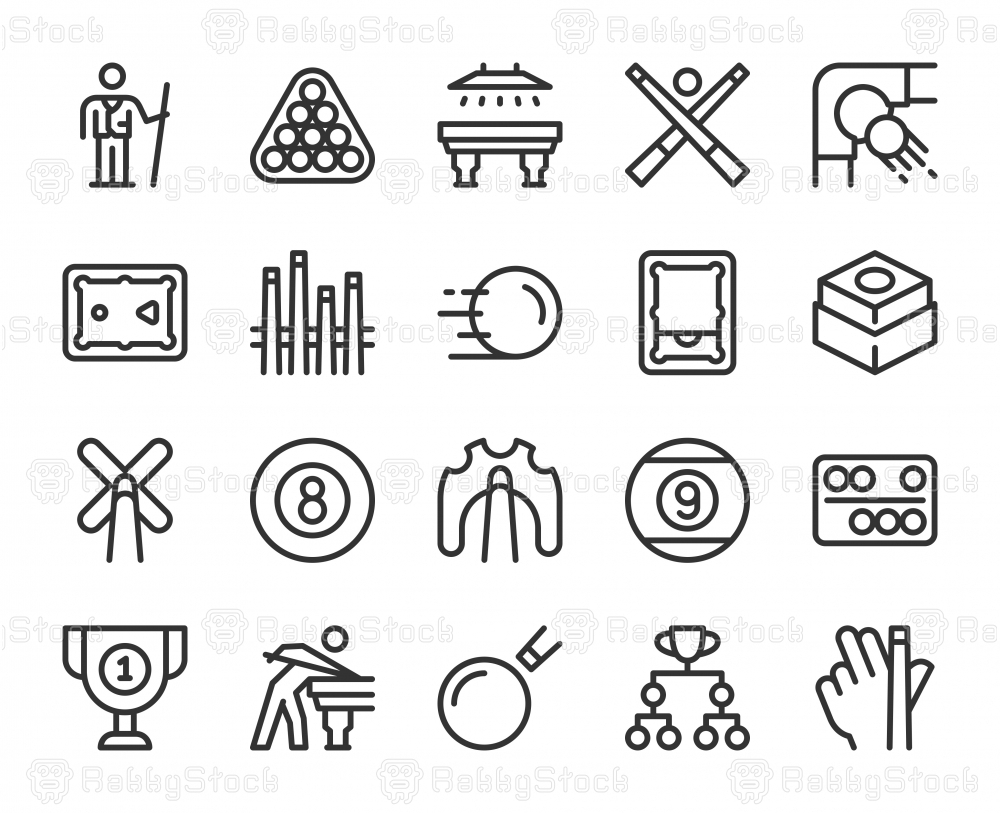 Snooker and Pool - Line Icons