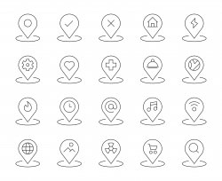 Map Pin Set 1 - Thin Line Icons