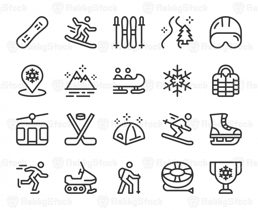 Winter Sport and Activities - Line Icons