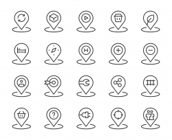 Map Pin Set 3 - Light Line Icons