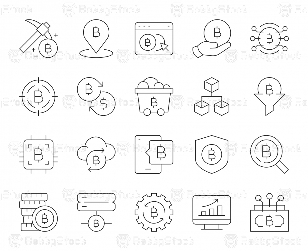 Cryptocurrency - Thin Line Icons
