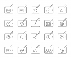 Digital Tablet Set 2 - Thin Line Icons
