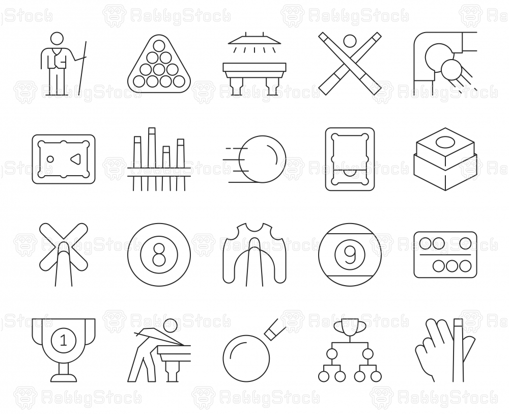 Snooker and Pool - Thin Line Icons