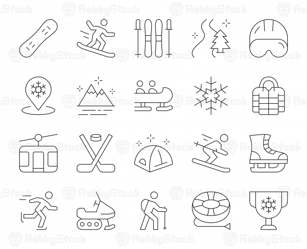 Winter Sport and Activities - Thin Line Icons