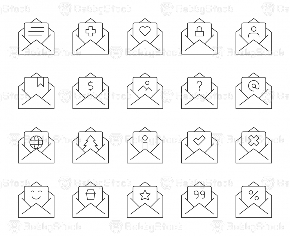 Letter - Thin Line Icons