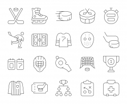 Ice Hockey - Thin Line Icons