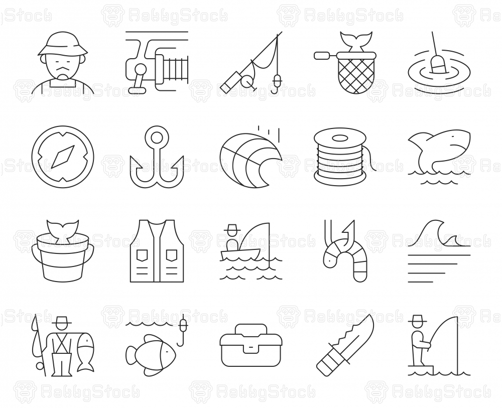 Fishing - Thin Line Icons