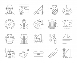 Fishing - Thin Line Icons