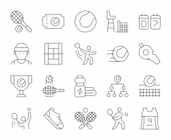 Tennis - Thin Line Icons