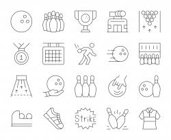 Bowling - Thin Line Icons