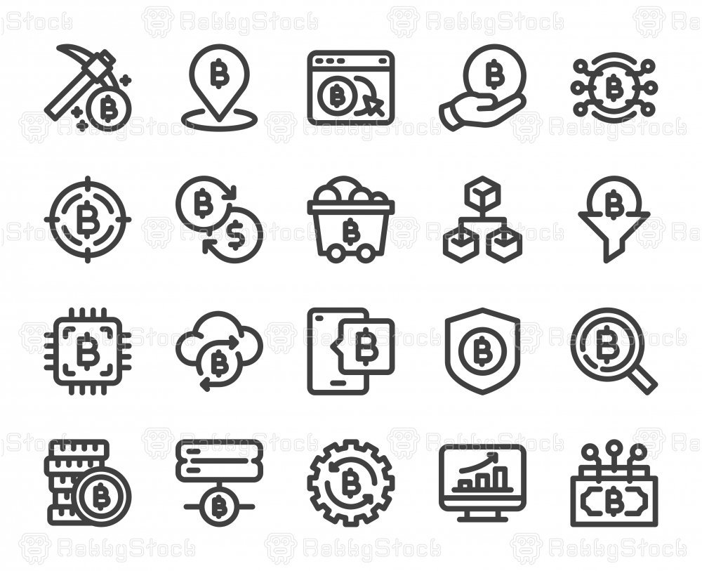 Cryptocurrency - Bold Line Icons