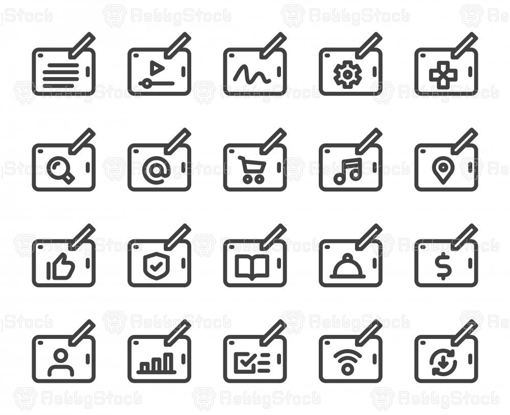 Digital Tablet Set 1 - Bold Line Icons
