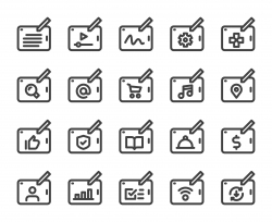Digital Tablet Set 1 - Bold Line Icons