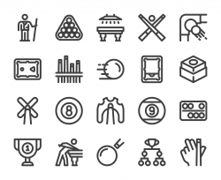 Snooker and Pool - Bold Line Icons